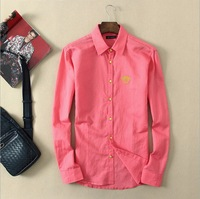 Men's Spring Summer Shirt Brand Clothing Long Sleeve 2014  2015 Top Quality Big Size Pure Cotton Dress Shirt Casual Four colours