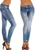 Women Slim Leggings Faux Fake Hole Decoration Jeans Leggings Pants Seamless Legings Leg Pants