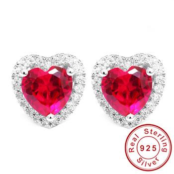 В форме сердца любовь 4ct голубиная кровь красный рубин серьги стержня ювелирные ...
