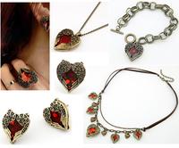 Fashion Heart Love Jewelry for Women Vintage Collar Necklaces Pendants/ Stud Earrings/ Rings/Bracelet Pulseiras Femininas Gift