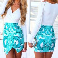 Hot Spring 2015 new long-sleeved dress green leaf print dress package hip  dress irregular dress free shipping
