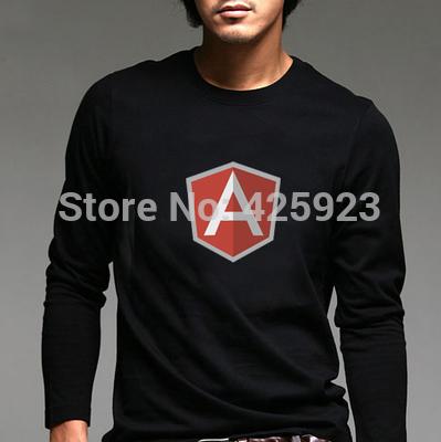 IT programmers long-sleeved T-shirt google Angular JS male character costumes 100% cottoT-shirt LOGO full-sleeved T-shirt(China (Mainland))