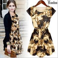 Lanluu 2015 New Printed Casual Women's Dresses Plus Size Fashion Female Dress Summer Vestidos SQ1022
