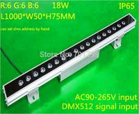 18*1W(6R6G6B) DMX512 RGB LED High Power Wall Washer;can set dmx address by hand;L1000*W54*H38MM
