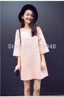New fashion cotton dress pregnant women o-neck long sleeve pink dress a-line mini dress maternity elegant loose dress plus size