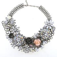 2015 Za Necklace Overstate Fashion Brand Necklace Vintage Flower Necklaces & Pendants Romantic Choker Statement Necklace Women