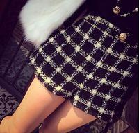 S M 2015 Star Show Winter Women Fashion Plaid Mid Waist Shorts Lady Preppy Wool Boots Shorts 3253l;