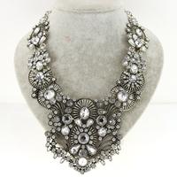 New Fashion Za Women Statement Necklace 2015 Choker Chain Resin Retro Silver Crystal Costume Collar Necklaces & Pendants