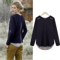 2015 New Long sleeve Casual fashion women's long sleeve t shirts big size faux 2 pieces blouses Tops Femininas blusas M-XXXL
