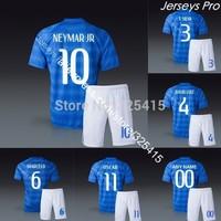Camisas de futebol brazil away blue Neymar ronaldinho pele david luiz marcelo lucas soccer jersey football uniforms kits