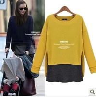 2015 Chic faux 2 pieces european style Woman spring autumn long sleeve casual blouse t shirts Tops Femininas blusas