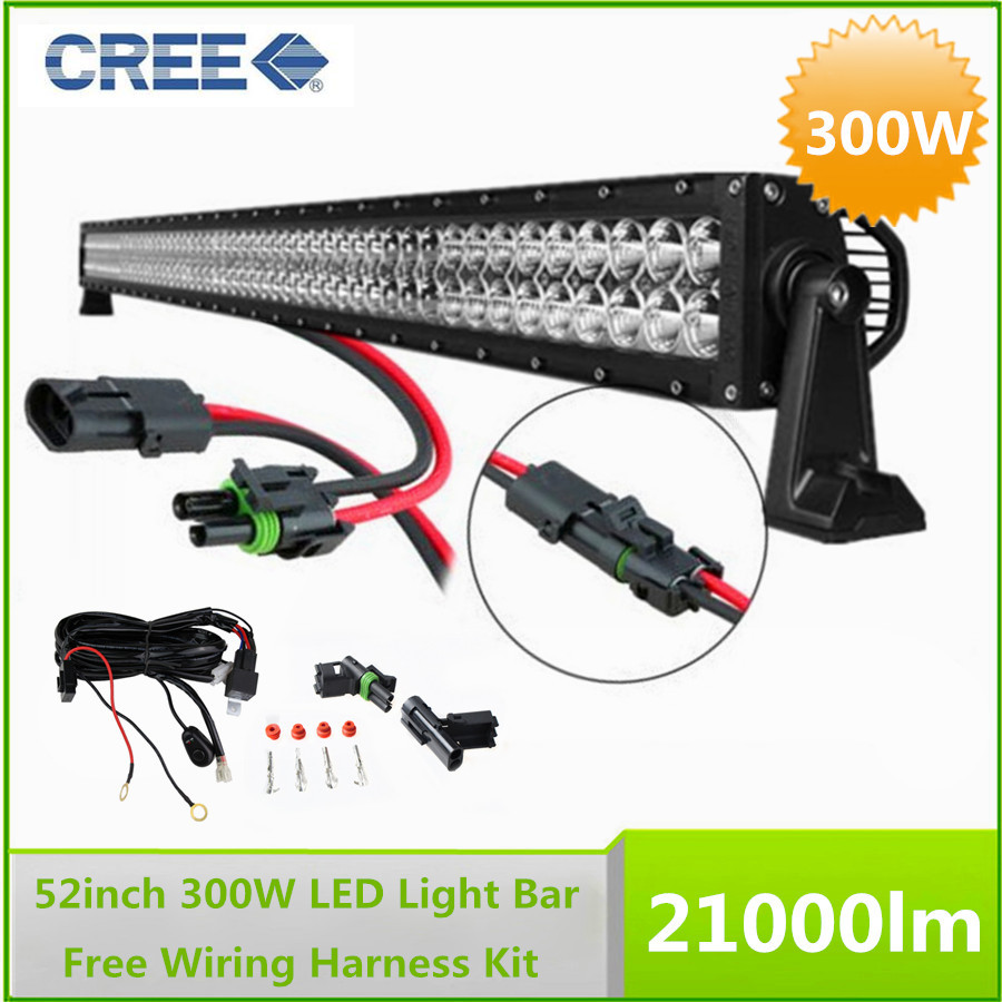 52 300W Cree LED Work Working Driving Light Bar Combo Beam with Free Wiring Harness Kit search on aliexpress com by image cree led light bar wiring harness at soozxer.org