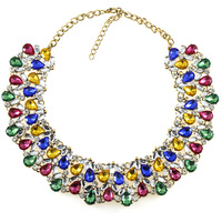 Fashion Necklaces For Women 2015 High Quality Luxury Crystal Necklace Statement Color Gem Clavicle Chain Chunky Jewelry Collar