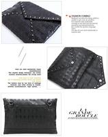 HB004,Free shipping Europe PU Ms wallet aslant skulls rivet joker handbag,single shoulder bag