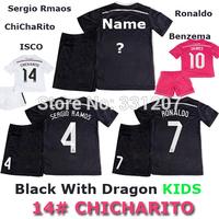Soccer Jerseys Real Madrid Kids 2015 Black Dragon RONALDO JAMES BALE RAMOS 2015 Real Madrid Kids Boys Children Sets Shirt+Short