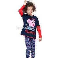New 2015 Nova Kids Boy Peppa Pig Clothing George Pig with Dinosaurs Long Sleeves T shirts Kids Cartoon T-shirt 2-6 Year 3 Color