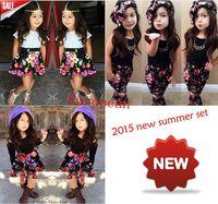 Retail 2015 new arrive factory price  European baby girls ffashion summer clothing set girls clothing suit children clothing set