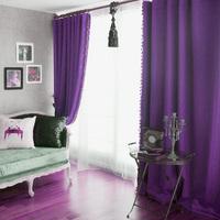 Purple curtain fashion eco-friendly flat stripe blackout fabric finished product