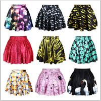 Hot sale!!! Fashion New 2015 summer skirts womens pleated skirts BATMEN The Flash Printed Skirt Saia free shipping