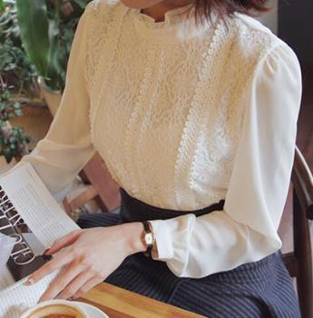gola alta chiffon tops mulheres camisa de renda de confian a camisa
