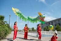 Children kid size 3.1m 4 children play brand new dragon dance Christmas festival china spring holidays