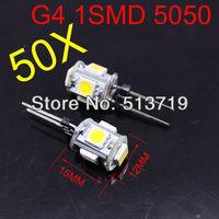 Free shipping wholesale 50X G4 5LED Warm White SMD 5050 LED Light Home Car RV Marine Boat Lamp Bulb DC-12V
