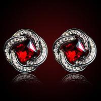 QMODE 2015 Brand Design Spiral Gem Earring New Fashion Luxury Big Square Ear Stud Free Shipping