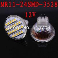Free shipping 10X MR11 3528 Pure White 24 1210 GU4.0 2.5W SMD Energy Saving High Power Spot Light Bulb Lamp warm white DC 12V