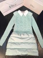 Brand D Down Sweater Skirt Luxury Dress Design 2015 New Style