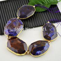 Natural Drzuzy 5pcs Gold plated Edge Amethyst Impression Jasper Pendant Bead Jewelry making