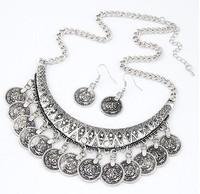2015 new arrive Brand Design hot Fashion Retro Metal Vintage Bohemian Style Jewelry set Tassel Coin choker necklace  earrings