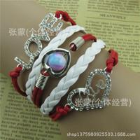 2015 Hot sale Europe fashion jewelry belt drill LOVE harajuku star beautiful leather cord bracelet