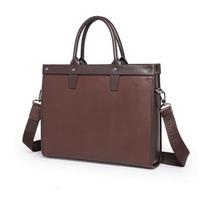 Men's Fashion Solid Genuine Leather Business Briefcase Laptop Bag Handbag Tote