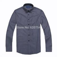 2015 Fashion Stylish Brand casual Shirts Men Long Sleeve Shirt Cuff Mens Dress Shirts have logo #741