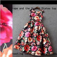 Women's Vintage Printed Dress Spring 2015 Fashion Elegant High Waist Bow Slim Medium-long Dress