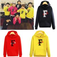 infinite-f same paragraph surrounding hooded fleece  Korean clothes kpop coat kpop clothes bts hoodie exo kpop sweatshirt
