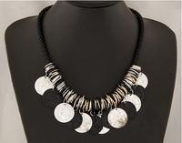 2015 Fashion Indian Design Necklaces Vintage Gold Chain Craving Coin Tassels Women Charm Statement Necklaces & Pendants