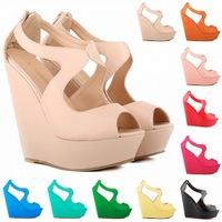 14cm  wedge platform thick crust wedge sandals women's high-heeled waterproof matte fish head sandals new muffin pumps