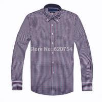 Men Custom-Fit small logo plaid dress Shirts / Long sleeve casual shirts / Formal costume,embroidery Logo 100% cotton
