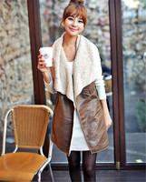 Free Style 2015 Winter Leisure Fashion Faux Fur Long Coat Imitation Leather Jacket Casual Vest for Women T22-29