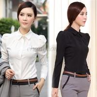 New 2015 Plus Size Women Work Wear Slim Shirt Chiffon Blouses casual Tops Turndown Collar Black/White Long Sleeve OL-Style B16