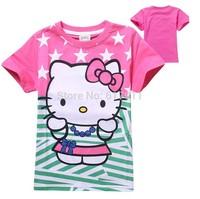 New 2015 summer kids tops children t shirts girls fashion clothes girls short sleeve t-shirts top tee kitty t-shirts cotton lot