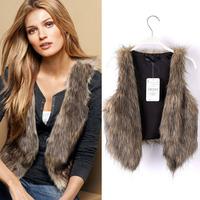 European T Show 2015 Winter Warm Fashion Waistcoat Women Faux Fur Vest Sleeveless Coat V-Collar No Button Jacket T22-21