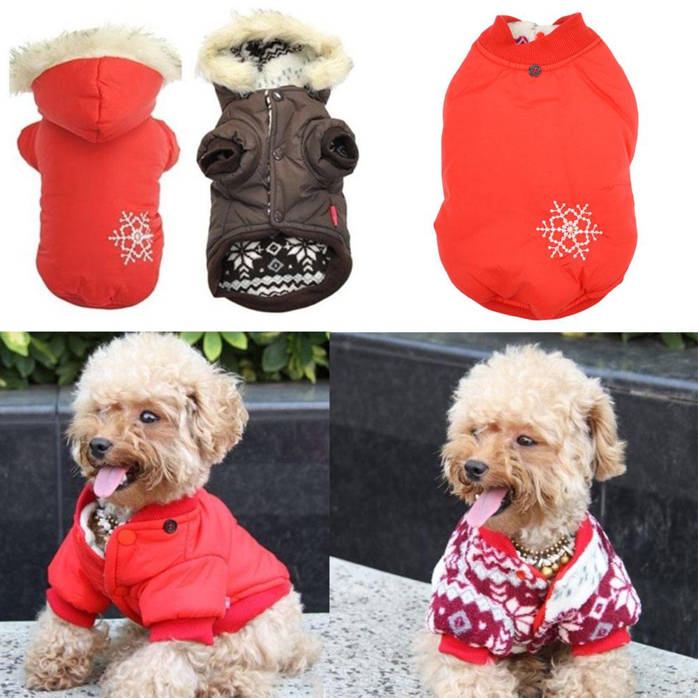 Alta qualidade inverno quente pequeno cão de estimação roupas grossas jaquetas vestuário Outerwear do floco de neve casaco com capuz(China (Mainland))