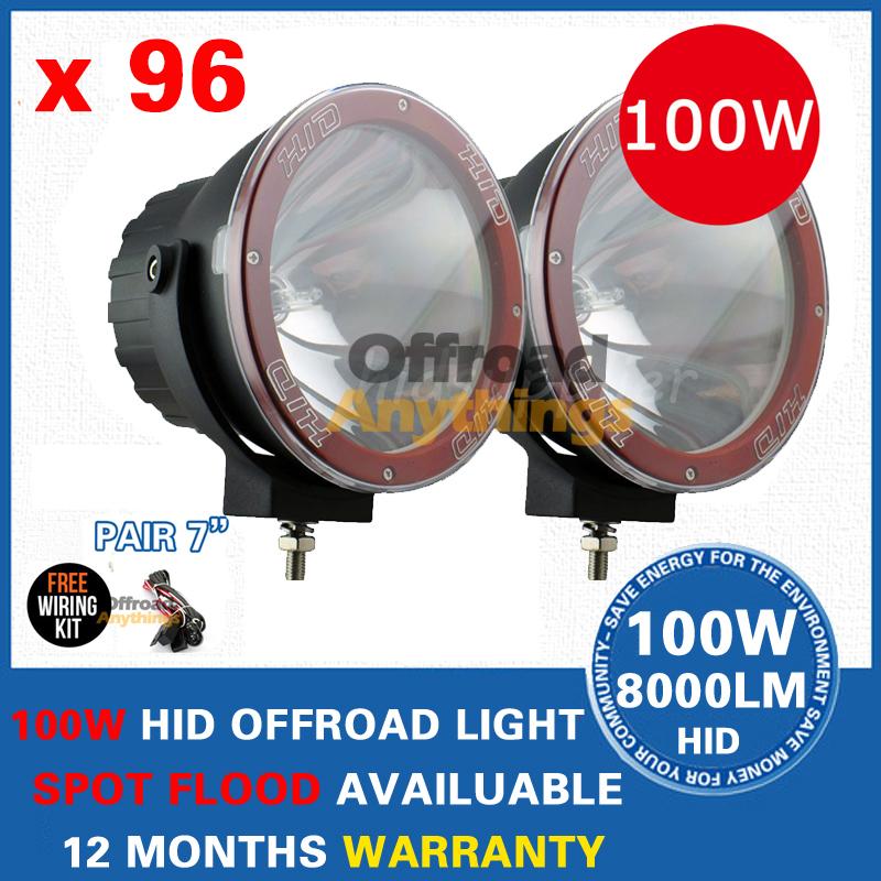 "96 Pcs 12V 35W/55W/75W/100W 7"" Spot Beam truck/Boat fog lamp ,hid driving light ,HID off road light,hid xenon work light(China (Mainland))"