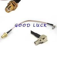2pcs/lot  right angle TS9 TS-9 male  to  SMA female nut RG316 Pigtail jumper cable 20cm