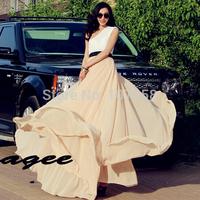 2015 New Fashion Hot sale high quality plus size Colorful Bohemian sandbeach skirt Women Maxi Long Expansion Chiffon Skirt