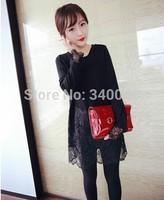 Wholesale Price!2015 pregnant women long sleeve cotton patchwork lace dress maternity fashion mini dress lace hem basic dresses