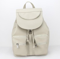 2015 New Fashion Women's PU Leather Backpack Travel School Big Bag in Stock Free shipping H089 beige