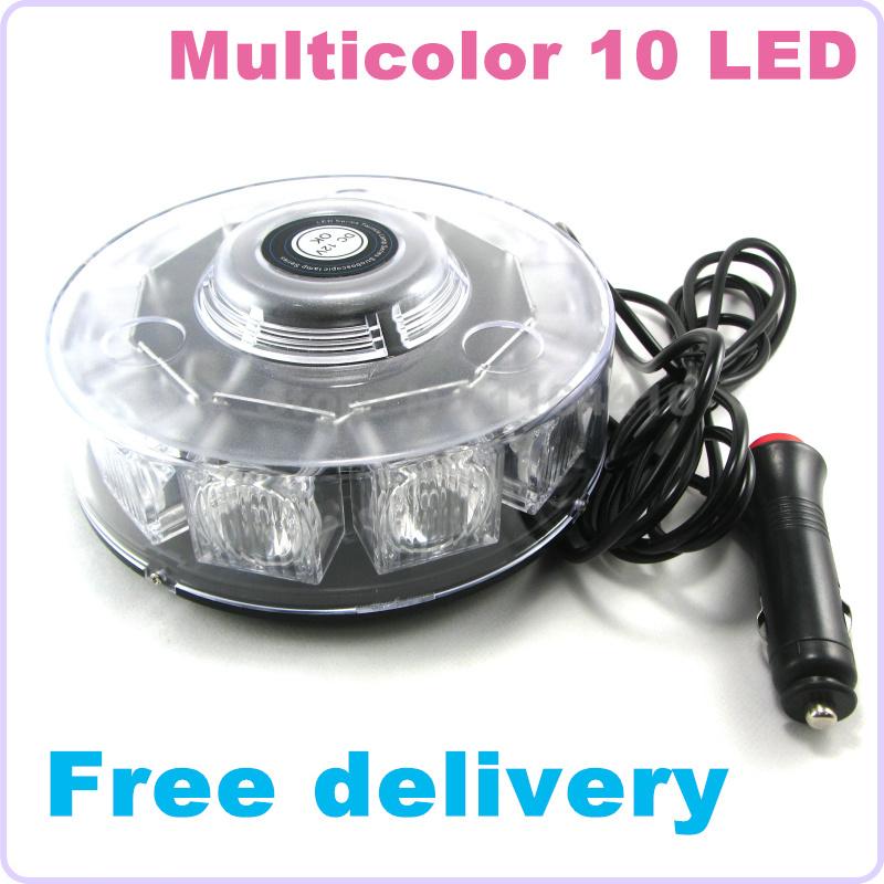HOT Car Auto Emergency 10 LED Flashing Light Warning Strobe Lamp 6 Modes Amber Red Blue White 3 Color Available Free Shipping(China (Mainland))